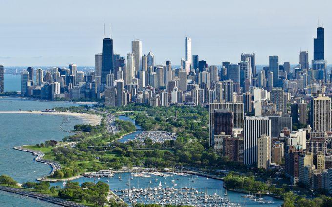 Chicago Skyscrapers Top View Ocean Desktop Background
