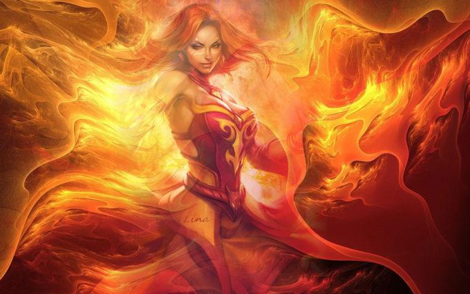 DotA 2 Fantasy Fire Flame Goddess Lina Desktop Background