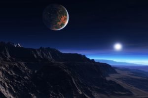 Exoplanet Atmosphere Clouds Stars Moon Mist Mountains Rocks Desktop Background