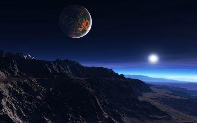 Exoplanet Atmosphere Clouds Stars Moon Mist Mountains Rocks Desktop Background