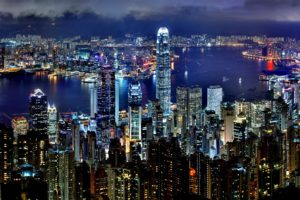 Hong Kong Skyline Night Architecture Asia Panorama