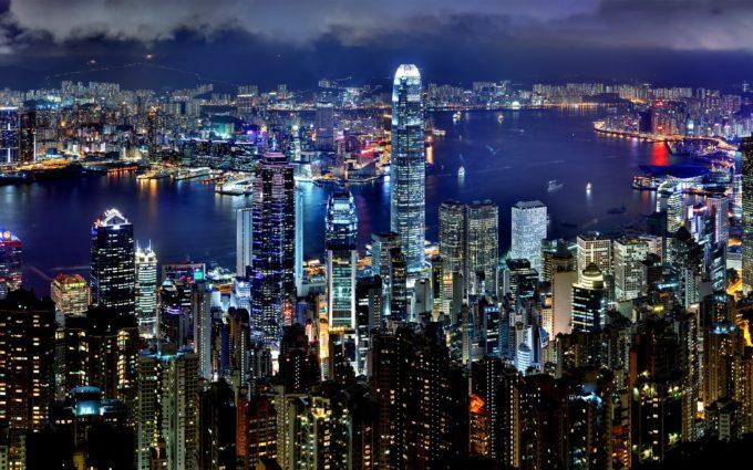 Hong Kong Skyline Night Architecture Asia Panorama