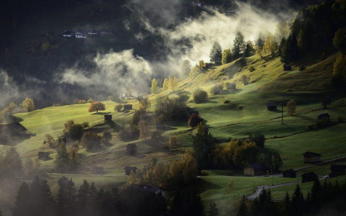 Landscape Autumn Fog Village Twilight Afternoon