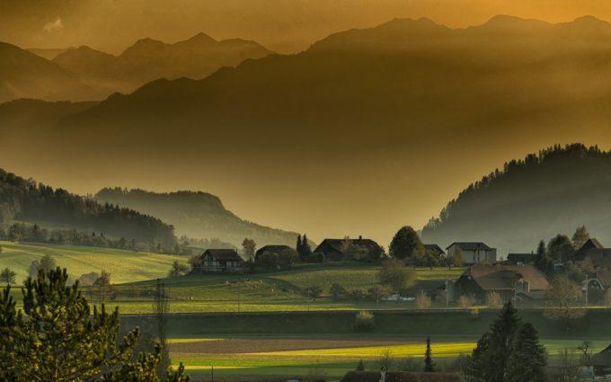 Landscape Autumn Twilight Mountains