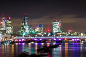 London Night Lights Thames River Panorama