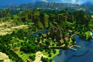 Minecraft Trees Houses Mountains Desktop Background