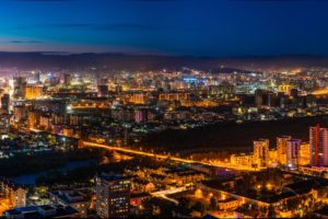Night View Ulaanbaatar Eastern Mongolia