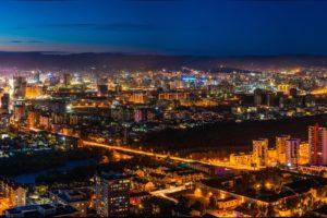 Night View Ulaanbaatar Eastern Mongolia