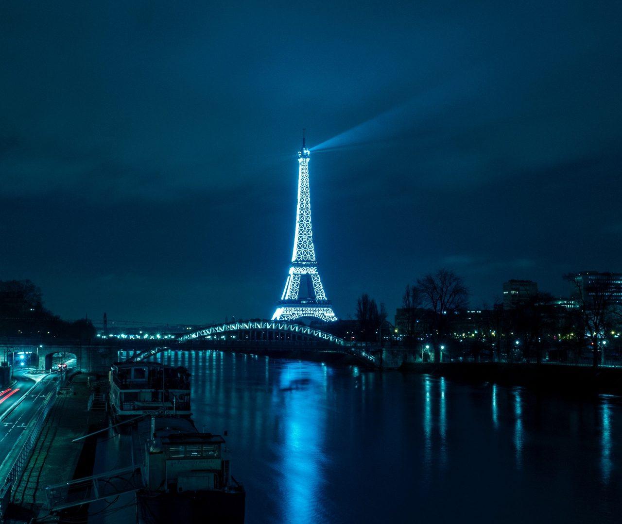 Paris Eiffel Tower Night City River Bridge Desktop