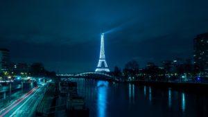 Paris Eiffel Tower Night City River Bridge Desktop Background
