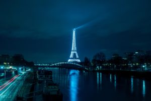 Paris Eiffel Tower Night City River Bridge Desktop Background