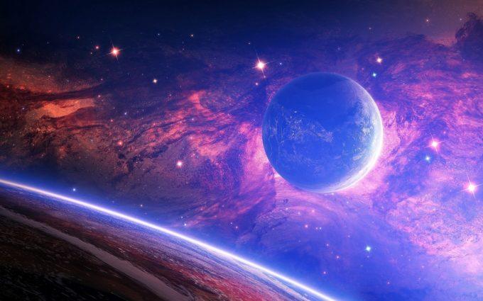 Planet Light Spots Space Desktop Background