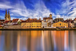 Regensburg Historic Center Danube Water Panorama