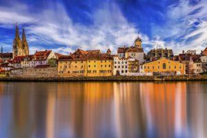 Regensburg Historic Center Danube Water Panorama