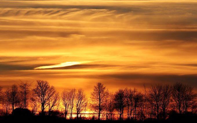Sunset Evening Sky Clouds Abendstimmung Panorama