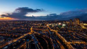 The Hague Netherlands Night City Top View Desktop Background