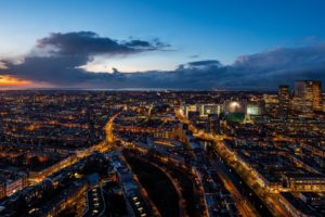 The Hague Netherlands Night City Top View Desktop Background
