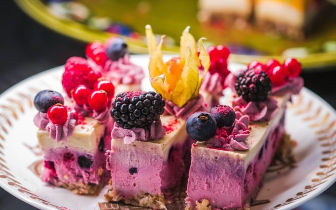 Cake With Berries on Plate Desktop Wallpapers