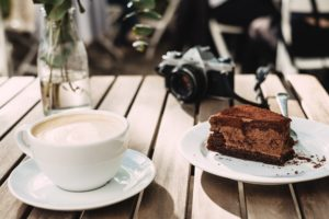 Chocolate Cake Near Milk on Cup Desktop Wallpapers