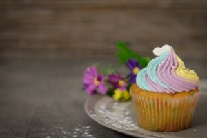 Close Up Photography of Cupcake on Gray Ceramic Plate Desktop Wallpapers