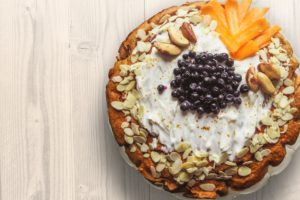 Pastry With Nuts Sliced Mangoes and Blackberries on Top Desktop Wallpapers