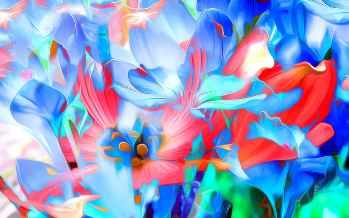 Rendering Flowers Art Lines Bright Desktop Wallpapers