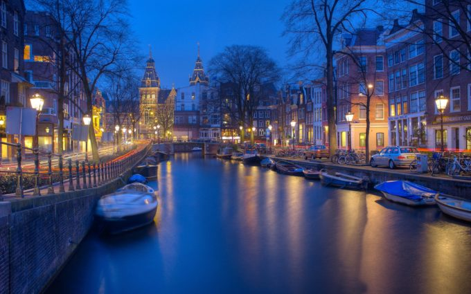Amsterdam Night Canals Evening Desktop Wallpapers