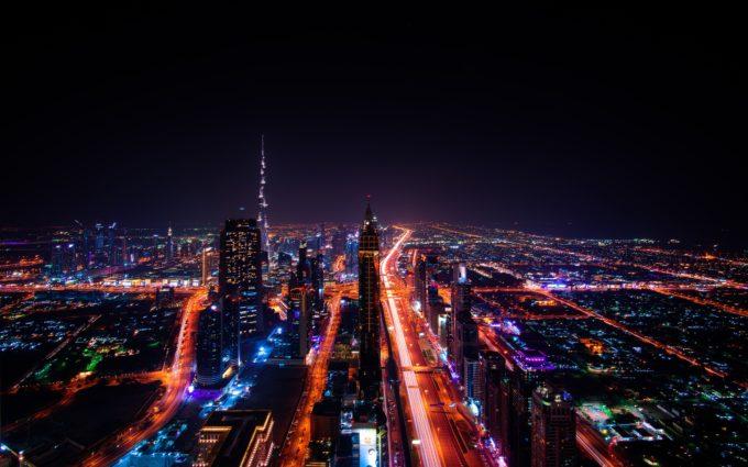 Dubai Skyscraper City Lights Cityscape Emirates Desktop Wallpapers