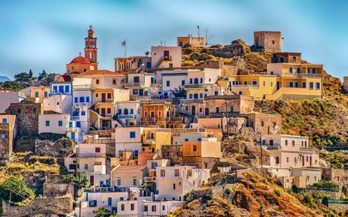 Greece Village Karpathos Hill Desktop Wallpapers