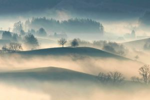 Hilly Fog Desktop Wallpaper