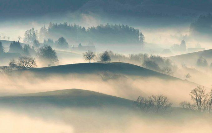 Hilly Fog Desktop Wallpaper