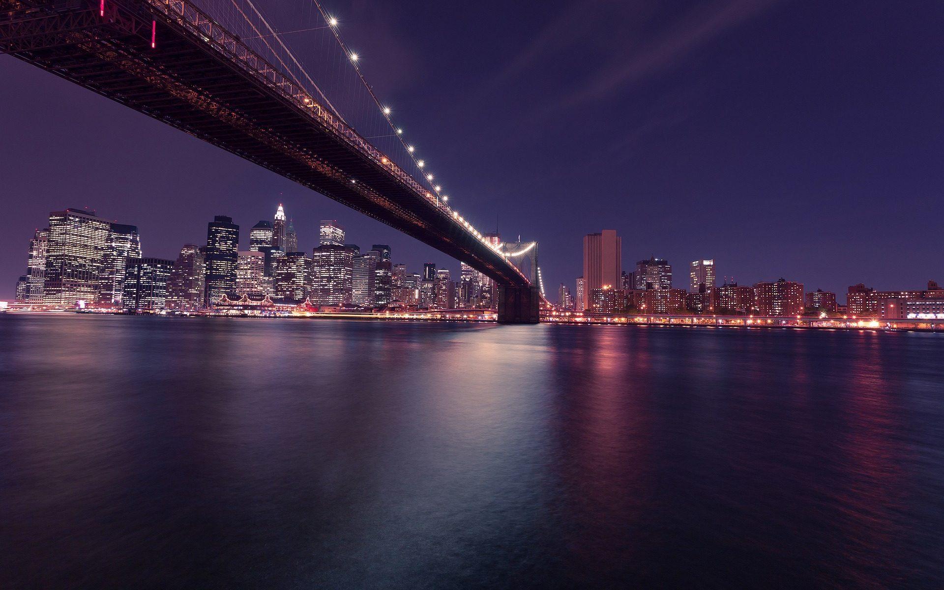 New York City Brooklyn Bridge Night Skyline Desktop Wallpapers