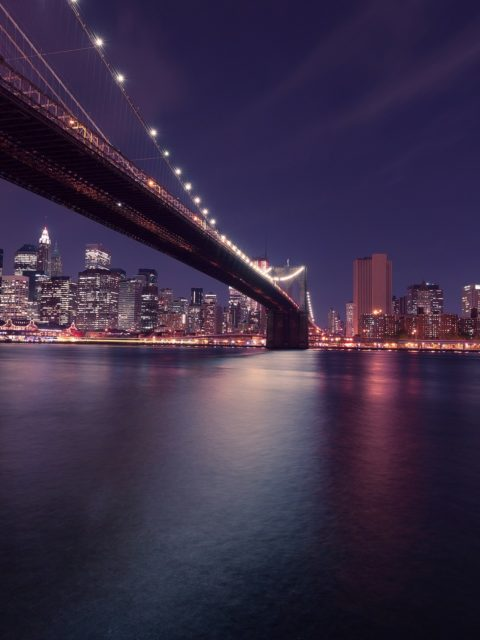 New York City Brooklyn Bridge Night Skyline Desktop Wallpapers
