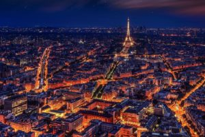 Paris Eiffel Tower Night City Desktop Wallpapers
