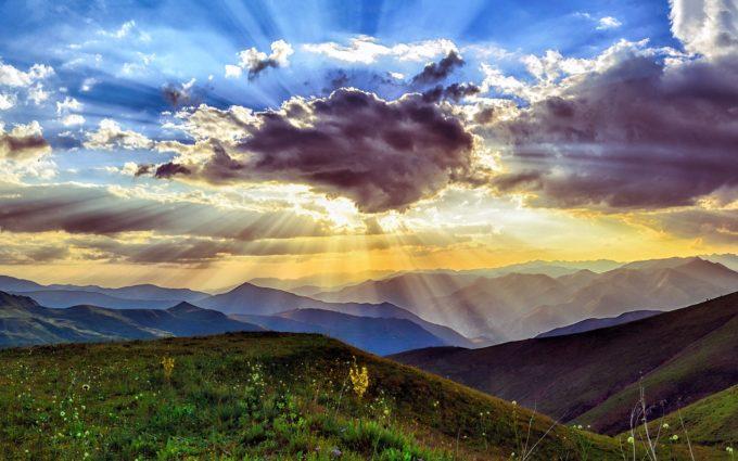 Sunset Mountain Desktop Wallpaper