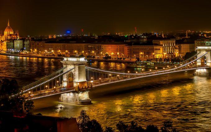 Szechenyi Chain Bridge Suspension Bridge Landmark Desktop Wallpapers