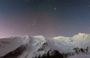 Mountain Covered Snow Under Star Background Wallpaper