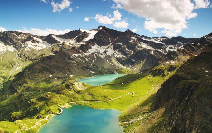 Aerial Alpine Ceresole Reale Desktop Wallpapers