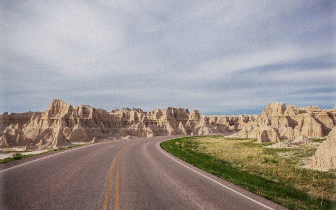 Asphalt Road Between Rocky Mountains Desktop Wallpapers