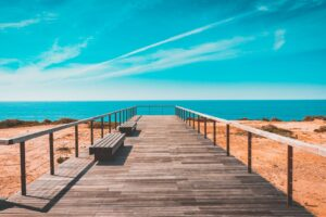 Beach Bench Boardwalk Clouds Desktop Wallpapers