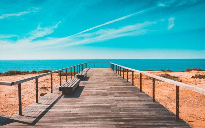 Beach Bench Boardwalk Clouds Desktop Wallpapers
