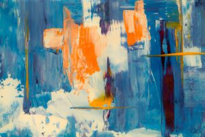 Blue White And Orange Abstract Painting Desktop Wallpapers