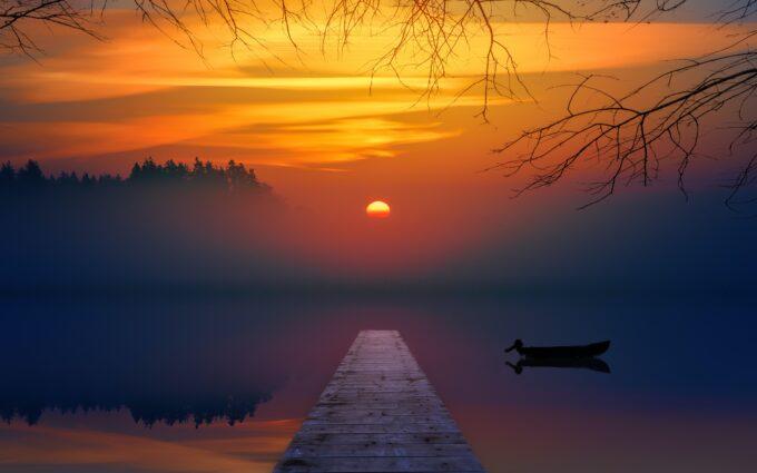 Brown Dock During Sunset Desktop Wallpapers