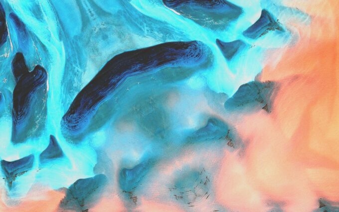 Photo Of Blue And Orange Abstract Painting Desktop Wallpapers