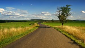 Photo Of Road In The Middle Of The Grass Field Desktop Wallpapers