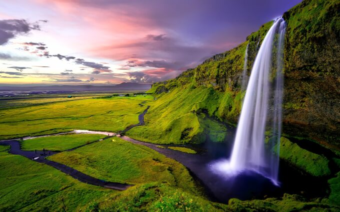 Time Lapse Photography Of Waterfalls During Sunset Desktop Wallpapers