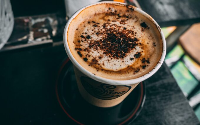 Brown Cup Filled With Cappuccino Desktop Wallpapers