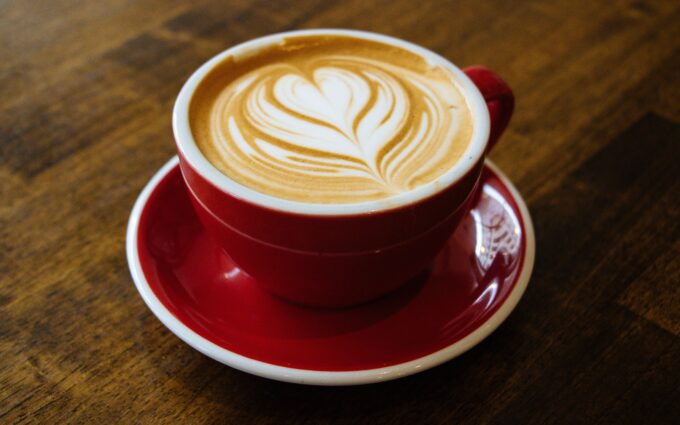 Cappuccino-filled Cup on Red Saucer Desktop Wallpapers
