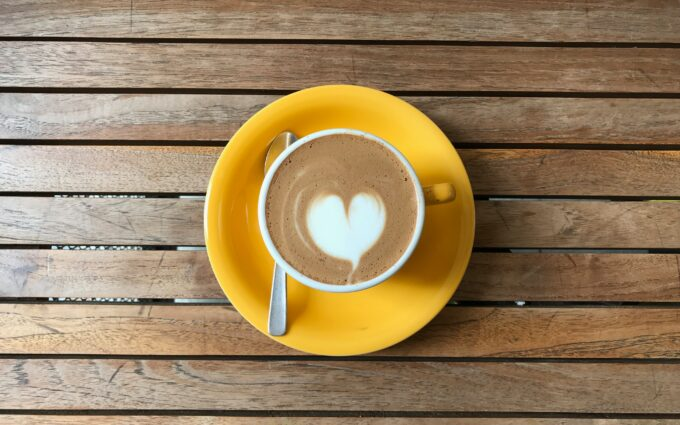 Cup of Decorated Cappuccino on Wooden Surface Desktop Wallpapers