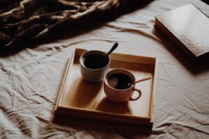 Cups On Wooden Tray Desktop Wallpapers